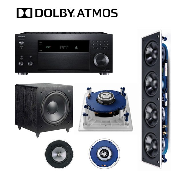 kef audio. onkyo rz900 and kef in wall 5.1/7.1/5.1.2 dolby atmos audio package