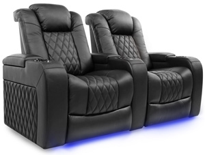 Valencia Tuscany Three Seater With Center Console Home Theater Seating Diamond Stitching